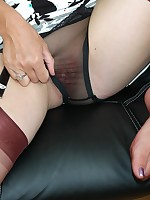 sheer panty delights in the office - Vintage Milfs