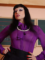 Miss Trinity is wearing a very formal seethrough bowtie blouse, skirt, shiny.. - Granny Girdles