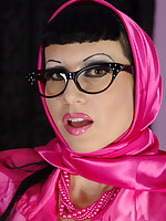 busty milf Trinity is wearing a shiny satin scarf and very tight satin blouse... - Granny Girdles