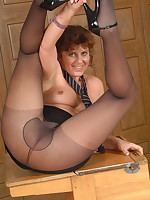 Naughty housewife showing her panties and then some - Granny Girdles