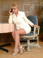 Blonde MILF Louise Hodges gets us all warm - Granny Girdles