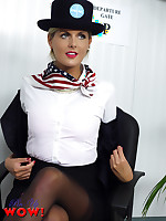 Naughty Air Hostess Victoria in sexy satin pink underwear, suspenders and.. - Granny Girdles