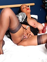 Danica in stockings playing with her dildo at bedtime - Granny Girdles