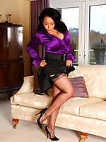 Danica masturbating in silk blouse, black stockings and heels - Granny Girdles